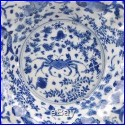 A Chinese Porcelain Blue & White Kangxi Period Lobbed Plate With Crab & Fish
