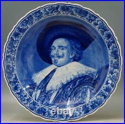 @ A GOOD @ Porceleyne Fles handpainted blue+white Delft charger Frans Hals 1943