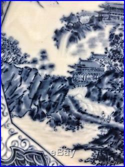 A Japanese Blue & White Landscape Dish