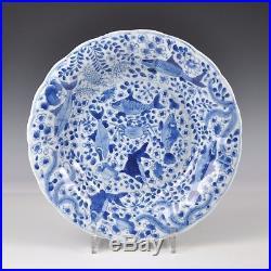 A Large Chinese Porcelain Blue & White Kangxi Period Fish & Crab Dish