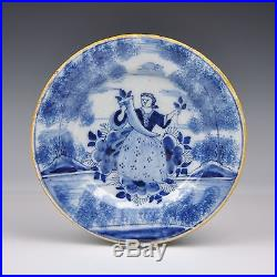 A Pair Of Delft Blue And White 18th Century Plates Lady Fortuna