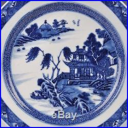 A Qianlong Period Blue & White Chinese Porcelain Riverlandscape Plate