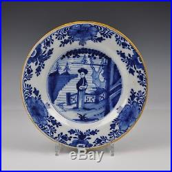 A Set Of Six Delft Blue And White 18th Century Plates Chinese Lady
