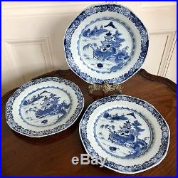 A Set Of Three Chinese Blue And White Porcelain Plates, Qianlong, 18th Century