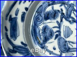 A Very Fine Antique Chinese Ming Wanli Kraak Plate w 2 Deers Blue White Porcel