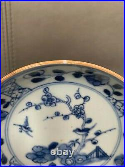 A pair Chinese Antique blue white saucers Qianlong period 18c