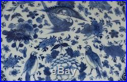 A perfect antique 19th c chinese porcelain blue & white plate with birds & bats