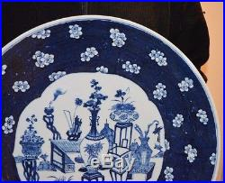 A very large 19th century Chinese blue and white porcelain charger