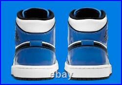 Air Jordan 1 Mid SE Signal Blue White Blk Patent BQ6931-402 GS Sz 6Y Women's 7.5