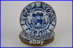 Amazing Old Set of 6 Blue & White Chinoiserie Delft Plates 23cm / 9.2 inch