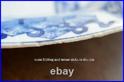 An Antique Chinese Blue & White octagonal plate with figure story Kangxi period