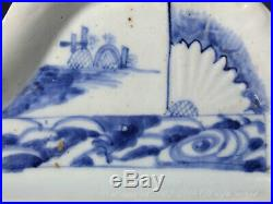 An Early Blue & White Arita (Ai-Kutani) Moulded Shaped Porcelain Dish. Edo. 17th