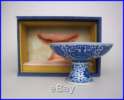 An Extremely Nice Blue and White Stem Cup/Plate, with Fitted Box