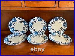 Anthropologie GLORIOSA Set of 6 Dinner Plates Blue White Color