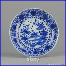 Antique 1680-1700 Kangxi Chinese porcelain Plate Blue White Dish Bird Marked
