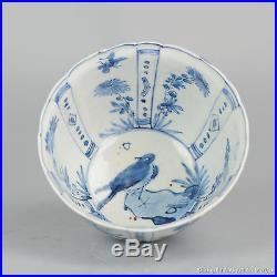 Antique 17C Chinese Porcelain Blue & White Ming Period Crow Cup Bowl Rinaldi