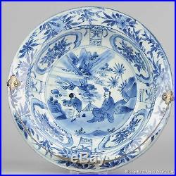 Antique 17C Chinese Porcelain Blue/White Ming Period Klapmuts Bowl Silver