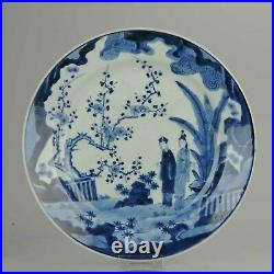 Antique 17/18th C Japanese Edo Porcelain Blue White Dish Figures Ladies