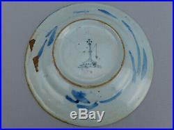 Antique 17th C Blue White Italian Majolica Pottery Plate Grosso di Albisola