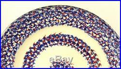 ^ Antique 1800's American Pair Red, Blue & White SPATTERWARE Spongeware Plates
