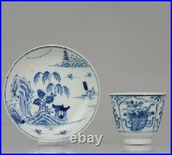 Antique 18C Blue and white landscape Tea Bowl flower Chinese China Porcelain