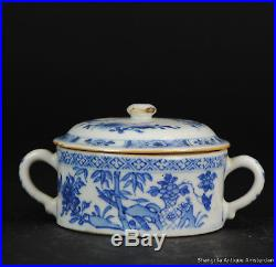 Antique 18C Chinese Porcelain Blue & White China Qianlong Period Butter Jar