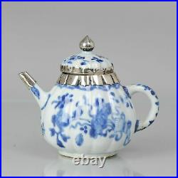 Antique 18C Chinese Porcelain Blue White Kangxi Silver Teapot Bowl China
