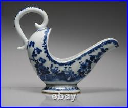Antique 18C Chinese Porcelain Blue White Qianlong Sauceboat Bowl China