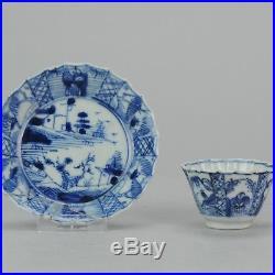 Antique 18C Chinese Porcelain Tea Bowl Cup Saucer Landscape Figure Blue & White