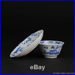 Antique 18C Chinese Porcelain Tea Bowl Cup Saucer Tea Drinking Blue & White