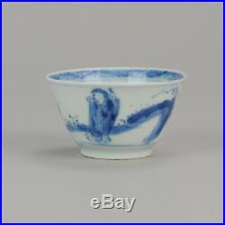 Antique 18C Kangxi Qing Chinese Tea Bowl Porcelain China Blue White zh