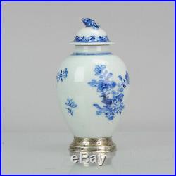 Antique 18C Yongzheng period Chinese Porcelain blue & white tea caddy Antique