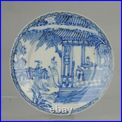Antique 18/19th C Japanese Edo Porcelain Blue White Dish Figures Ladies