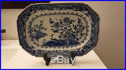 Antique 18 C middle Qing Chinese export Blue & White porcelain platter 11 birds