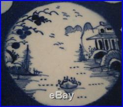 Antique 18thC Bow Porcelain Blue & White Pattern Plate Porzellan Teller 1765