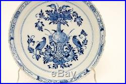 Antique 18thC Dutch Delft Pottery Blue & White Pan Cake Plate Dish Flowers Birds