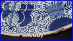 Antique 18thC Dutch Delft Tin Glazed Blue & White Peacock Vase Plate Charger