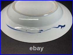 Antique 18th C. Chinese Blue N White Porcelain Plate Kangxi Period 10.50 Width