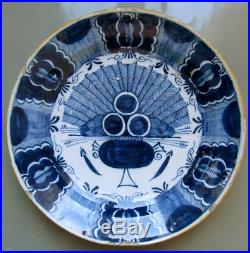 Antique 18th C. Dutch Delft Peacock Charger Plate Blue White 13 3/4 Inch 35 CM