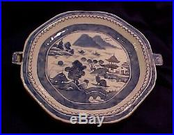 Antique 18th Cen Chinese Export Blue White Porcelain Hot Water Warming Dish