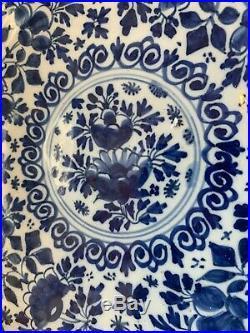 Antique 18th Century Blue White Moulded Delft Ware 10 1/2 Plate / Bowl