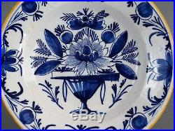 Antique 18th-Century Chinoiserie Dutch Delft Plate Blue & White