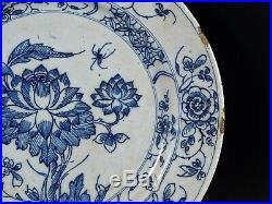 Antique 18th Century Dutch Delft Blue White Plate Flowers Insect and Old Label