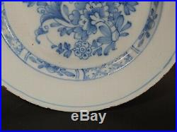 Antique 18th Century Dutch Delft Blue White Plate Ming Chinoiserie Style 8.5