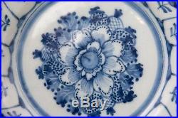Antique 18th-Century Dutch Delft Faience Floral Flowers Blue & White Plate