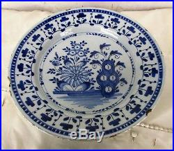 Antique 18th Century Large Delft Charger Plate Blue White Unusual Flowers