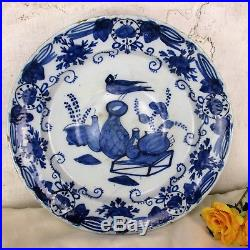 Antique 18th Century Large Delft Charger Plate Blue White Unusual Still Life
