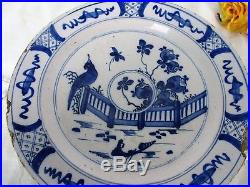 Antique 18th Century Large Delft Wall hanging Charger Plate Blue White Peacock