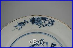 Antique 18th Qianlong Blue & White Porcelain Plate Chinese China Qing