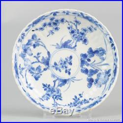 Antique 18th c Chinese Porcelain Blue & White Dish Saucer Qing Kangxi Period